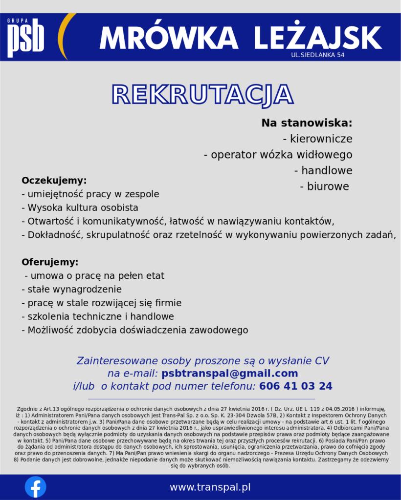 Leżajsk rekrutacja